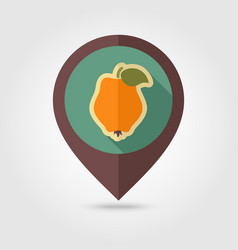 Quince flat pin map icon tropical fruit vector