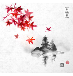 Red japanese maple trees and island with trees vector