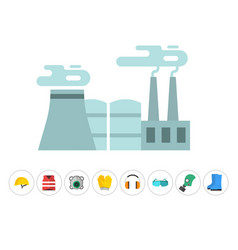 Safety industrial gear tools flat vector