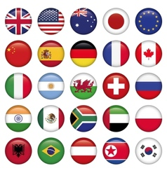 Set of round flags world top states vector