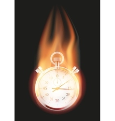 Stopwatch with flame vector image