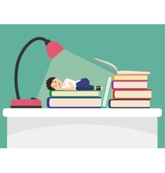 Student sleeps on book vector image