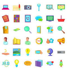Tech support icons set cartoon style vector
