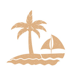 Tree palm beach with sailboat vector