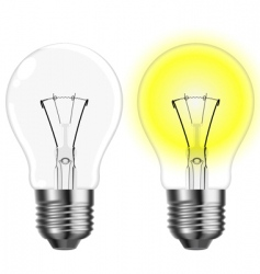 two light bulbs vector image