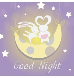 Two white Bunny moon night vector image vector image