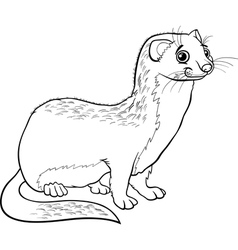 weasel animal cartoon coloring book vector image vector image