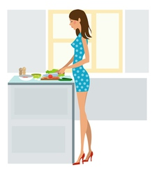 Young woman cooking dinner vector