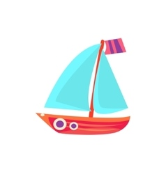 Sailing toy boat with blue sails vector