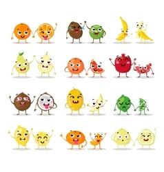 Funny cartoon fruit characters isolated big cute vector