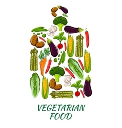 Vegetable cutting board for vegetarian food design vector