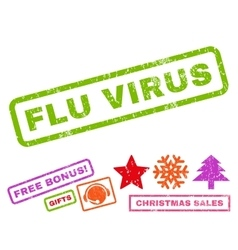 Flu virus rubber stamp vector