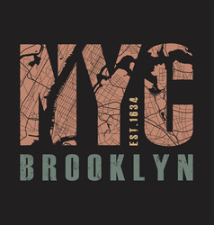 New york brooklyn tee print vector
