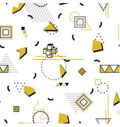 memphis seamless pattern - gold shapes fashion vector image