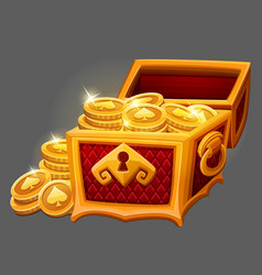 Chest of gold coins icon vector