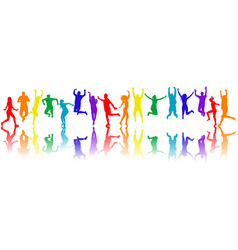 Colorful people silhouettes jumping vector