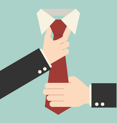executive adjusting red tie vector image