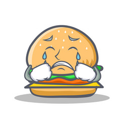 Crying burger character fast food vector