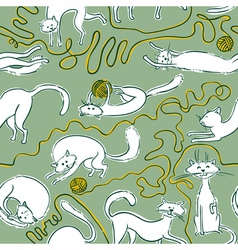Cats doodle seamles vector image