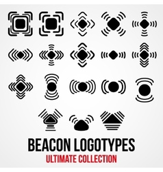 Set of black bluetooth gps beacon icons vector