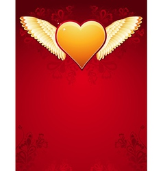 Golden heart with wings on red background vector