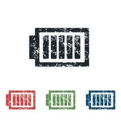 Charged battery grunge icon set vector
