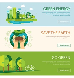 Save the world and green energy concept web banner vector