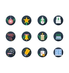 Flat round colored icons for winter vector