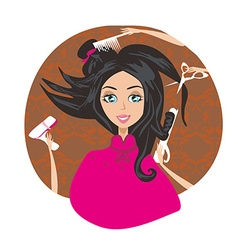 Hair stylist work on woman hairstyle vector