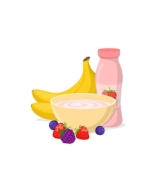 Yogurt and fruits vector