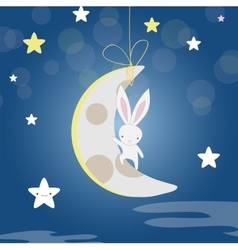 White bunny moon night vector