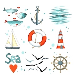 Sea set of 9 nautical elements isolated on white vector