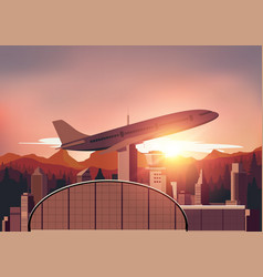 Airport with sunset background vector image vector image