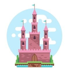 Cartoon fairy tale pink alcazar castle vector