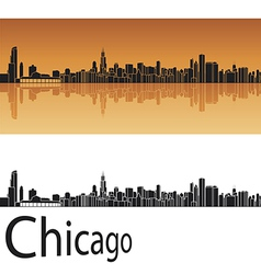 Chicago skyline in orange background vector image vector image