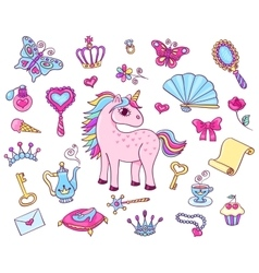 Cute princess set with unicorn vector