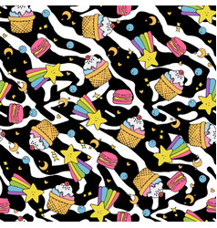 cute seamless pattern with macaroons and cakes vector image vector image