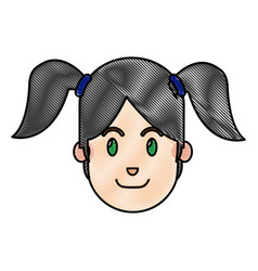 Drawing face girl happy expression with ponytails vector
