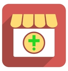 Drugstore flat rounded square icon with long vector