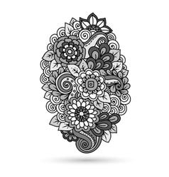 Ethnic floral zentangle doodle floral background vector