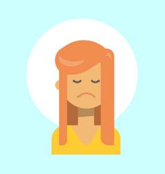 female sad emotion profile icon woman cartoon vector image