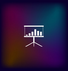 Flat paper cut style icon of a presentation stand vector