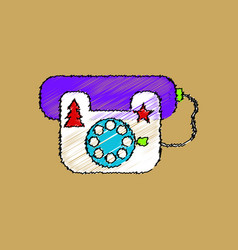 flat shading style icon landline phone vector image vector image
