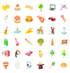 fun amusement icons set cartoon style vector image vector image