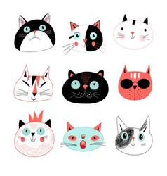 Graphic seamless portraits of cats vector image