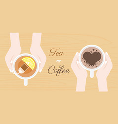 hand holding coffee and tea cup vector image vector image
