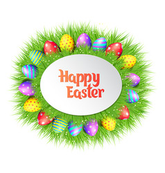 happy easter eggs frame vector image vector image