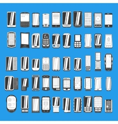 Large set of different abstract mobile phones part vector