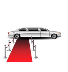 Luxury white limousine car and red carpet vector