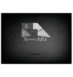 Marketing mix or 4ps model on black chalkboard vector